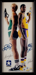 Basketball Collectibles:Photos, 1985 Larry Bird and Magic Johnson Signed Converse PromotionalPoster....