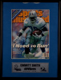 """Football Collectibles:Publications, Emmitt Smith Signed """"Sports Illustrated"""" Magazine Display...."""