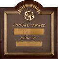 Hockey Collectibles:Others, 1964-65 Conn Smythe Trophy Plaque Presented to Jean Beliveau....