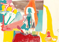 Post-War & Contemporary:Abstract Expressionism, Amy Sillman (b. 1966). Blue Lady Surrounded by Ping, 2006. Mixed media on paper. 29-1/8 x 49-3/8 inches (74.0 x 125.4 cm...