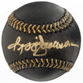 Baseball Collectibles:Balls, Reggie Jackson Single Signed Black Baseball....