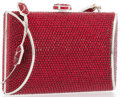 "Luxury Accessories:Bags, Judith Leiber Full Bead Red Crystal Minaudiere Evening Bag .Very Good to Excellent Condition . 4"" Width x 3"" Heightx..."