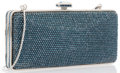 "Luxury Accessories:Bags, Judith Leiber Full Bead Blue Crystal Rectangular Minaudiere EveningBag . Very Good to Excellent Condition . 6"" Width x 3""..."
