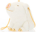 "Luxury Accessories:Accessories, Judith Leiber Full Bead White Glass Pearl Pig Minaudiere EveningBag with Gold Hardware. Excellent Condition. 3""Width..."
