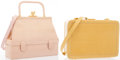 Luxury Accessories:Accessories, Judith Leiber Set of Two; Pink Karung Top Handle Bag & GoldKarung Shoulder Bag . Excellent Condition. Pink KarungTop... (Total: 2 Items)