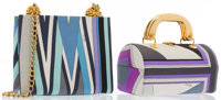 Emilio Pucci Set of Two; Purple & Gray Satin Tote Bag and Blue & Gray Satin Shoulder Bag with Gold Hardware Ver...
