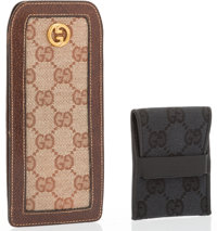 Gucci Set of Two; Black Monogram Canvas Business Card Holder & Brown Monogram Canvas & Leather Glasses Case Ex...