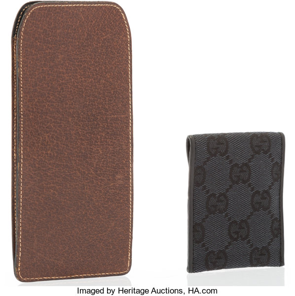 f0384b81881b Gucci Set of Two; Black Monogram Canvas Business Card Holder | Lot #20017 |  Heritage Auctions