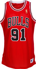 Basketball Collectibles:Uniforms, 1996-97 Dennis Rodman Game Worn Signed Chicago Bulls UniformPurchased from Chicago Bulls. ...