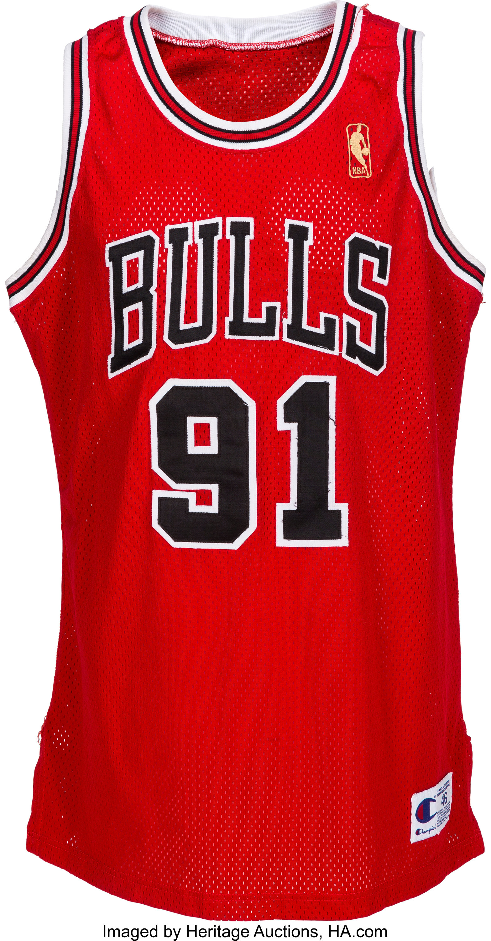 the latest 969e9 80f9d 1996-97 Dennis Rodman Game Worn Signed Chicago Bulls Uniform ...