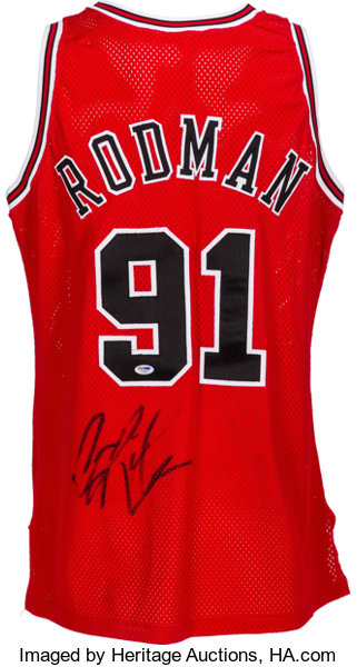 c52da25140a 1996-97 Dennis Rodman Game Worn Signed Chicago Bulls
