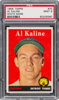 Baseball Cards:Singles (1950-1959), 1958 Topps Al Kaline, White Name #70 PSA Mint 9....