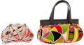 Luxury Accessories:Accessories, Emilio Pucci Set of Two; Multicolor Satin Clutch Bag &Multicolor Velvet and Leather Tote Bag. Very Good Condition.Sa... (Total: 2 Items)