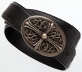 """Luxury Accessories:Accessories, Chrome Hearts Black Leather Belt. Very Good Condition.30"""" Length. ..."""