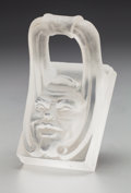 Art Glass:Steuben, Frederick Carder Cire Perdue Glass Gargoyle Mask. 2-3/8 x 3-1/2 x 2-1/4 in.. ...