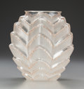 Art Glass:Lalique, R. Lalique Clear and Frosted Glass Soustons Vase with SepiaEnamel. Circa 1935. Stenciled R. LALIQUE, engraved ...