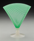 Art Glass:Steuben, Steuben Jade and Calcite Glass Fan Vase. Circa 1920. Ht. 8-1/2 in.....