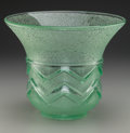 Art Glass:Daum, Daum Acid-Etched Art Deco Green Glass Vase. Circa 1930. Etched DAUM, (Cross of Lorraine), NANCY, FRANCE. Ht. 8-3/4 i...
