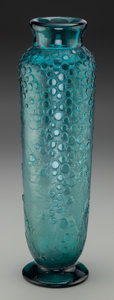 Glass, Daum Acid-Etched Art Deco Teal Glass Vase. Circa 1930. Engraved DAUM (Cross of Lorraine), NANCY. Ht. 13-1/2 in.. ...
