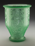 Art Glass:Daum, Daum Acid-Etched Art Deco Green Glass Vase. Circa 1935. Wheelcarved DAUM, (Cross of Lorraine), NANCY FRANCE. Ht. 11-1/8 in....