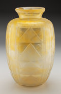 Art Glass:Daum, Daum Acid-Etched Art Deco Vitrified Yellow Glass Vase . Circa 1930.Wheel carved DAUM (Cross of Lorraine) NANCY, FRANCE. Ht....