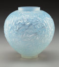 Art Glass:Lalique, R. Lalique Cased Opalescent Glass Gui Vase with Blue Patina.Circa 1920. Molded and enameled R. LALIQUE, engrave...