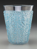 Art Glass:Lalique, R. Lalique Clear and Frosted Glass St. Tropez Vase with BluePatina. Circa 1937. Stenciled R. LALIQUE, FRANCE. ...