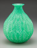 Art Glass:Lalique, R. Lalique Cased Opalescent Jade Glass Malesherbes Vase withWhite Patina. Circa 1927. Engraved R. Lalique, Fr...