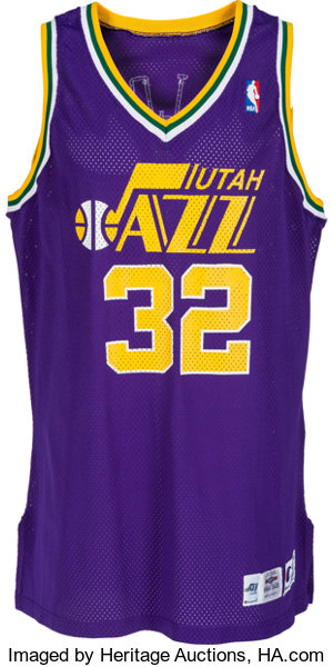 new arrival cb0f5 2afa6 1995-96 Karl Malone Game Worn Utah Jazz Jersey ...