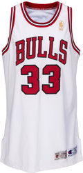 Basketball Collectibles:Uniforms, 1996-97 Scottie Pippen Game Worn Chicago Bulls Uniform, Purchasedfrom Chicago Bulls. ...
