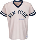 Baseball Collectibles:Uniforms, 1980's Spud Chandler Signed New York Yankees Jersey. ...