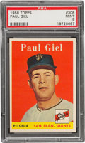 Baseball Cards:Singles (1950-1959), 1958 Topps Paul Giel #308 PSA Mint 9....