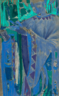 Margaret Putnam (American, 1913-1989) Piper Oil and ink on linen laid on board 19-1/2 x 12 inches