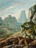 Texas:Early Texas Art - Impressionists, José Vives-Atsara (Spanish/American, 1919-2004). Green Mountains. Oil on board. 32-1/2 x 23-1/2 inches (82.6 x 59.7 cm)...