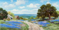 Texas:Early Texas Art - Impressionists, William A. Slaughter (American, 1923-2003). Road Through theBluebonnets. Oil on canvas. 12 x 24 inches (30.5 x 61.0 cm)...