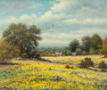 Paintings, William Robert Thrasher (American, 1908-1997). Yellow Wildflower Field. Oil on canvas. 20 x 24 inches (50.8 x 61.0 cm). ...