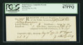 Colonial Notes:Connecticut, Connecticut May 28, 1790 Ralph Pomeroy Comptroller Receipt PCGSSuperb Gem New 67PPQ.. ...