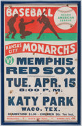Baseball Collectibles:Others, Circa 1940s Kansas City Monarchs Vs. Memphis Red Sox Negro LeagueBroadside....