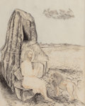 Texas:Early Texas Art - Modernists, Kelly Fearing (American, 1918-2011). Study for St. Jerome andthe Lion. Black crayon, pencil, and sanguine on paper. 13 ...