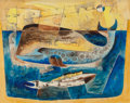 Texas:Early Texas Art - Modernists, Bror Utter (American, 1913-1993). Whales, 1954. Watercoloron paper. 22 x 28 inches (55.9 x 71.1 cm). Signed and dated l...