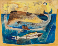 Bror Utter (American, 1913-1993) Whales, 1954 Watercolor on paper 22 x 28 inches (55.9 x 71.1 cm)