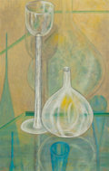 Texas:Early Texas Art - Modernists, Bill Bomar (American, 1919-1991). Still life with Glass andBottle. Oil on canvas. 28 x 18 inches (71.1 x 45.7 cm). Init...