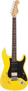 Musical Instruments:Electric Guitars, Little Richard Signed 1984 Fender Stratocaster Yellow Solid BodyElectric Guitar, Serial # E469426....