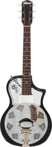 Musical Instruments:Resonator Guitars, Hank Williams Jr. Signed 1960's National Res-O-Tone Black ResonatorGuitar....