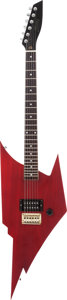 Musical Instruments:Electric Guitars, ZZ Top Signed 1980's Hondo Coyote Red Solid Body ElectricGuitar....