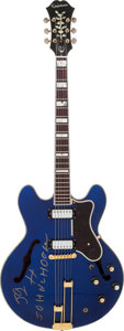 Musical Instruments:Electric Guitars, John Lee Hooker Played, Owned and Signed 1966 Epiphone SheratonBlue Semi-Hollow Body Electric Guitar, Serial # 553752....