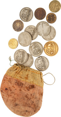 Lot of 15 Trade Tokens and Linen Tobacco Pouch