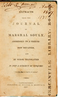 Books:Americana & American History, [Biography]. [Samuel L. Knapp]. Extracts from the Journal ofMarshal Soult, Addressed to a Friend... Newburyport...