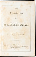 Books:Literature Pre-1900, Warren Warner. The Experiences of a Barrister. New York:Cornish, Lamport & Co., 1852....
