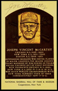Autographs:Post Cards, Joe McCarthy Signed Hall of Fame Plaque Postcard....